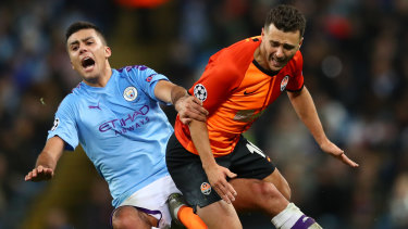 Manchester City in action against Shakhtar Donetsk in a UEFA Champions League match in November.