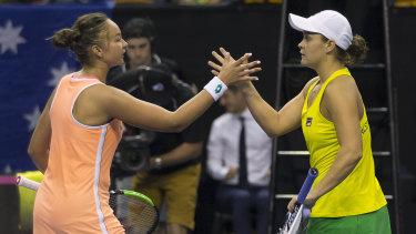 Ashleigh Barty of Australia defeats Lesley Kerkhove of the Netherlands.