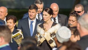 New Zealand Prime Minister Jacinda Ardern and partner Clarke Gayford at the national Remembrance Service to those who were killed in the Al Noor Mosque and the Linwood Islamic Centre shooting in Christchurch.