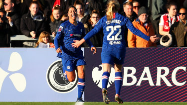 Sam Kerr after scoring for Chelsea on Sunday.
