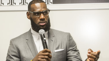 LeBron James at a news conference.