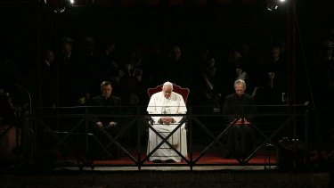 Pope Francis presides over the Via Crucis (Way of the Cross) torchlight procession on the Good Friday in front of ancient Colosseum in Rome.