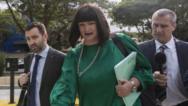 Under fire: Raelene Castle arrives at Rugby HQ for the hearing last week.