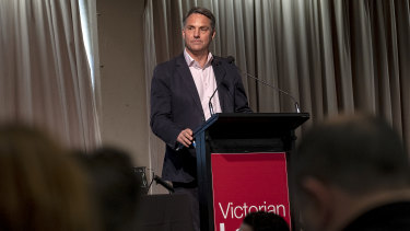 Unionists walked out as Richard Marles prepared to address the Victorian Labor conference.