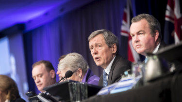 Victorian Liberal president Robert Clark and state director Simon Frost at the State Council last weekend.