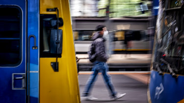 Fines were handed out at a number of Melbourne trains stations, including Southern Cross.