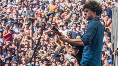 Melbourne musician Vance Joy, pictured here at the Falls Festival, was featured in Oculus Venues' first virtual reality live concert.