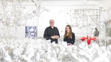 Architect and art collector Corbett Lyon with artist Patricia Piccinini.