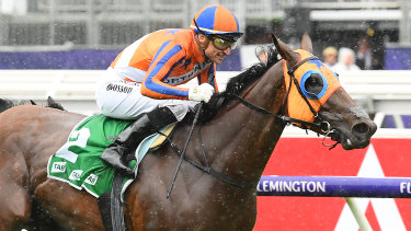 Melody Belle comes home strong to win the Empire Rose Stakes at Flemington.