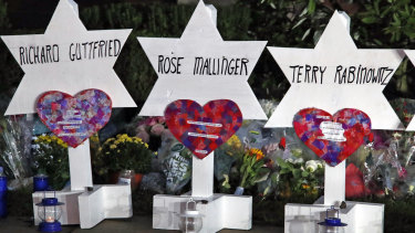 Stars of David with names of those killed at the Tree of Life Synagogue in Pittsburgh at a memorial outside the synagogue.