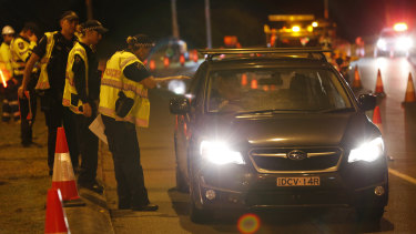 Police set up a road block near the Queensland-NSW border on Thursday morning.