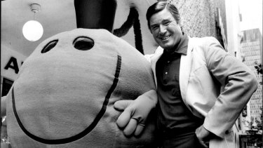 Roger Hargreaves with Mr Wrong in Sydney in 1980.