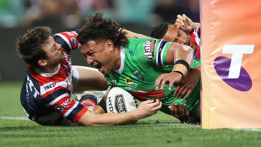 Josh Papali draws first blood for the Raiders against the Roosters.