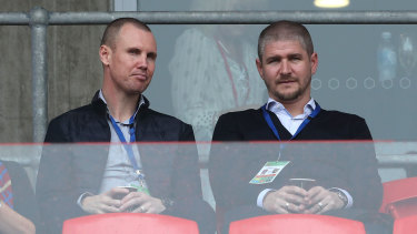 Newcastle Jets coach Carl Robinson, right, with assistant Kenny Miller in the stands watching the Jets last weekend.