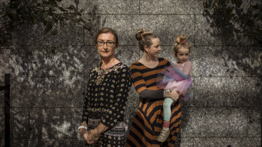 Carina Ford [left], lawyer representing the Tamil family who have been sent to Christmas Island, with family friend Ellen Mugavin and daughter Rumi, 3.