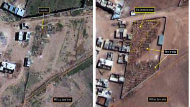 Satellite image provided by Amnesty International shows the military-run Saydnaya Prison, in 2010, left, and 2016, right, near Damascus, Syria. Amnesty International said they show an expanding cemetery, evidence of mass killings there.