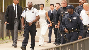 Rapper Cardi B covers up for court.