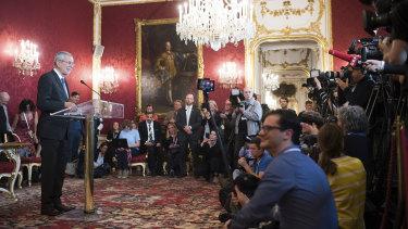 Austrian President Alexander van der Bellen addresses the media about the deepening scandal.