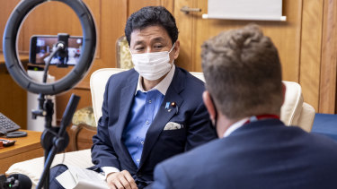 Japanese Defence Minister Nobuo Kishi being interviewed in his office in Tokyo.