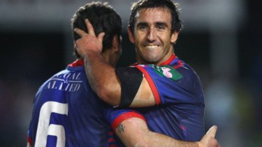 Heir apparent: Mullen partnered Andrew Johns in the halves for Newcastle in 2006.