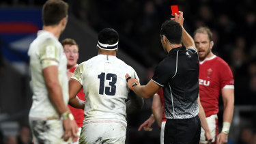 Manu Tuilagi is shown a red card by referee Ben O'Keeffe.
