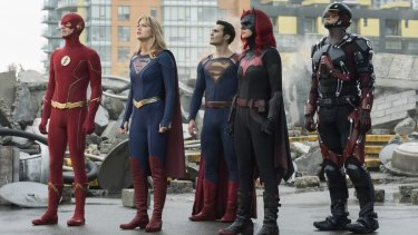 Grant Gustin as The Flash, Melissa Benoist as Supergirl, Tyler Hoechlin as Superman, Ruby Rose as Batwoman and Brandon Routh as Atom in the Crisis on Infinite Earths crossover TV event.