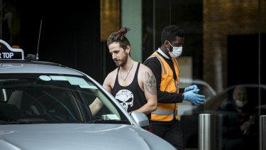 Freddi Saleeba is seen leaving the Crown Promenade Hotel after 14 days in quarantine.