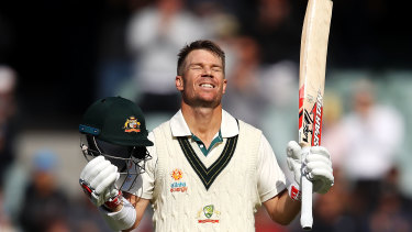 David Warner celebrates reaching his triple century.