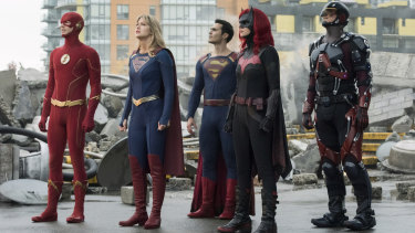 Superfriends: The Flash (Grant Gustin), Supergirl (Melissa Benoist), Superman (guest star Tyler Hoechlin), Batwoman (Ruby Rose) and Atom (Brandon Routh).