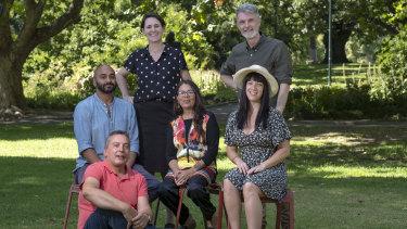 Winners of the Victorian Premier's Literary Awards (back row, left-right): Helena Fox, Rhett Davis; (middle) S. Shakthidharan, Charmaine Papertalk Green, Chloe Higgins; (front) Christos Tsiolkas.