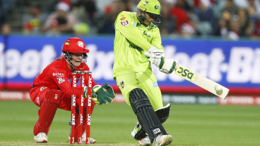 Usman Khawaja at the crease for Sydney Thunder.