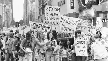 Women march in Melbourne for International Women's Day in 1975.