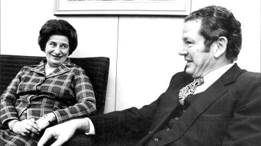 (L) Australia's First Woman Ambassador Miss Ruth. L. Dobson and Minister for Foreign Affairs Senator D. Willesee at Dept. of Foreign Affairs in Canberra. April 16, 1974.