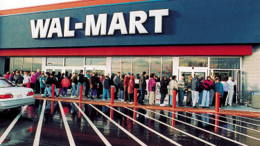Customers outside a Walmart store in Carrie, Ontario, Canada.