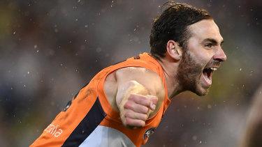 Jeremy Finlayson celebrates a goal.