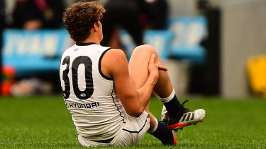 Grounded: Curnow hurt his knee against the Dockers in mid-2019 and hasn't played since.