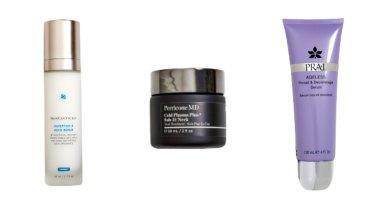 SkinCeuticals Tripetide-R Neck Repair, $225. Perricone MD Cold Plasma Plus+ Sub-D/Neck, $192. Prai Ageless Throat and Décolletage Serum, $45.