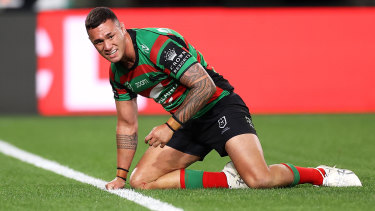 Jaydn Su'A adds to the Rabbitohs' ledger.