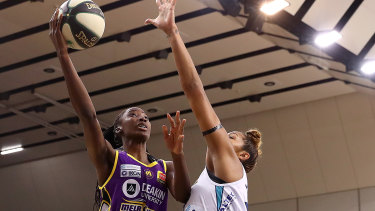Ezi does it: Melbourne Boomers' Ezi Magbegor turned on another masterclass but it wasn't enough to secure the points for her team.