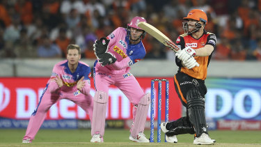 Back at it: David Warner on his way to a quick-fire half-century for the Sunrisers.