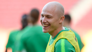 Aaron Mooy during a Socceroos training session last month.