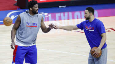 Joel Embiid and Ben Simmons during the playoffs.