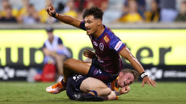 Jordan Petaia celebrates after a try against the Brumbies.
