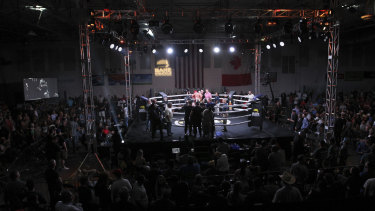 Packed rink: A capacity 2000 people attended the Bare Knuckle Fighting Championship in Cheyenne.