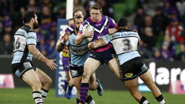 Unhappy farewell: Storm's Ryan Hoffman may have played his last game in the NRL.