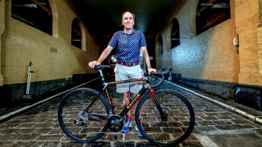 Worth every cent: Stephen Cameron, pictured at the Handmade Bicycle Show held at the Meat Market in North Melbourne, paid $22,000 for his bespoke bicycle.