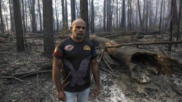 Derek Hayes at the site of a recent planned burn at the Mitchell River National Park, in Gippsland.