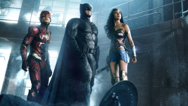 The Flash, Batman and Wonder Woman in a scene from Zack Snyder's Justice League.