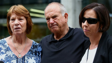 Shirlene and Gary Towers and Zana Warneke talk to the media outside the Supreme Court in Brisbane on Thursday.
