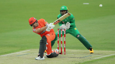 Joe Clarke of the Scorchers bats against the Melbourne Stars before rain ended the match.